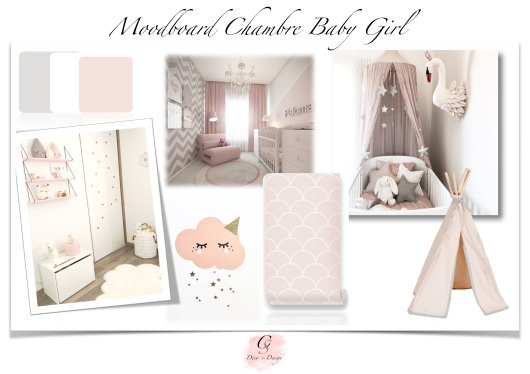 Moodboard chambre baby girl