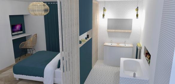 salle de bain-chambre réaliste